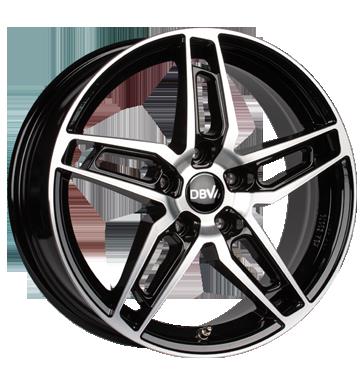 DBV, 5DS 005, 6,5x16 ET38 5x100 60,1, Schwarz glänzend, Front poliert
