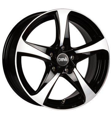 DBV, 5SP 001, 6,5x16 ET35 5x114,3 74,1, Schwarz glänzend, Front poliert