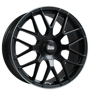 MAM, GT1, 7,5x17 ET30 5x100 63,4, matt black lip polish