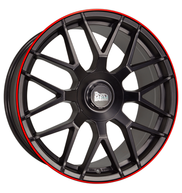 MAM, GT1, 8,5x19 ET30 5x100 66,6, matt black lip red