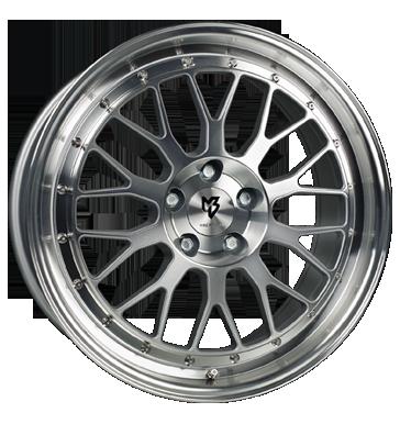 mbDESIGN, LV1, 8,5x19 ET33 5x120 72,55, Silber glänzend, Front u. Außenbett pol.