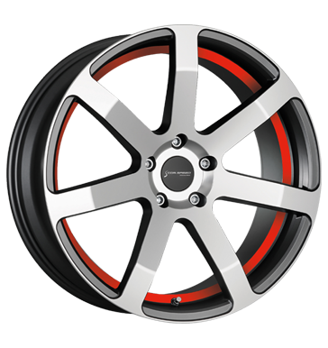 Corspeed Challenge highgloss gunmetal-Polished undercut Color Trim rot